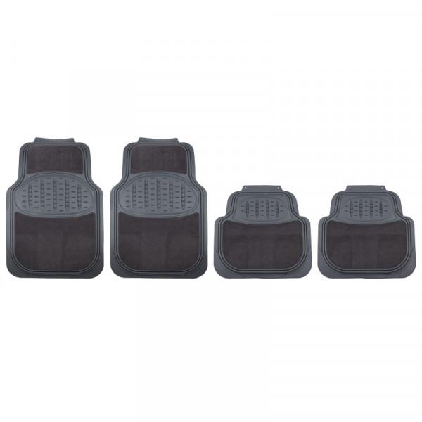 Premium Fußmatten mit Teppich UNIVERSAL grau