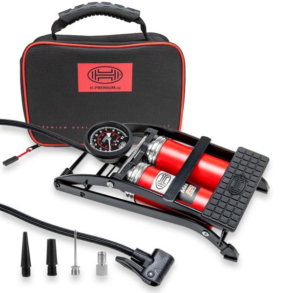 Premium 2-Zylinder Fußpumpe mit Manometer