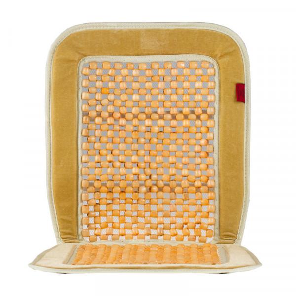 Premium Holzkugel-Sitzauflage beige